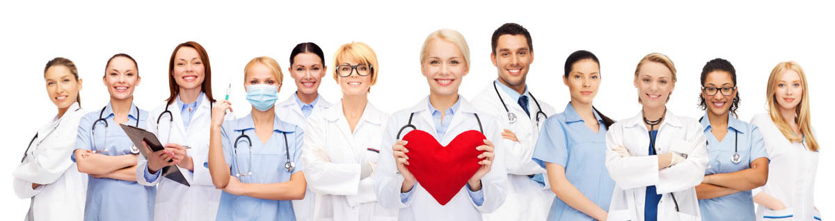 healthcare and medicine concept - smiling doctors and nurses with red heart